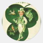 Vintage St Patrick's Greeting Round Stickers