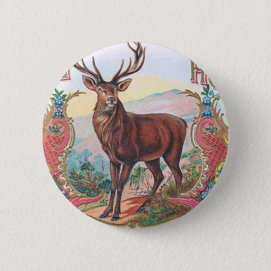 Vintage Stag 6 Cm Round Badge