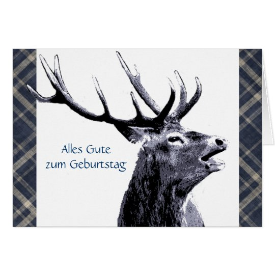Vintage Stag Alles Gute  zum Geburtstag German Card