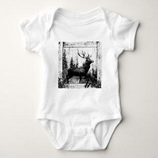Vintage Stag Deer Black White Animal Baby Bodysuit