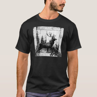 Vintage Stag Deer Black White Animal T-Shirt