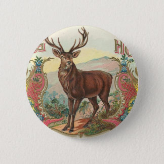 Vintage Stag Horn Buck Label Art 6 Cm Round Badge