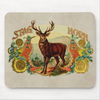 Vintage Stag Horn Mouse Pad