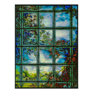 Vintage Stained Glass Scenic Window Poster
