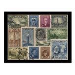 Vintage Stamps Collage Post Card
