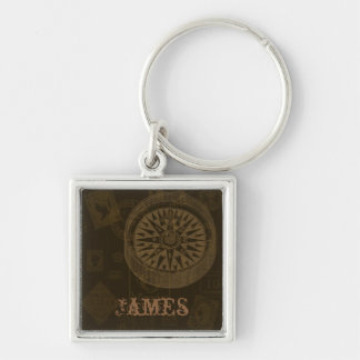 Vintage Stamps & Compass Keychain