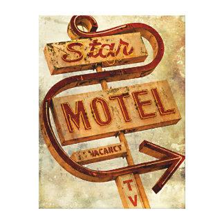 Vintage Star Motel Sign Stretched Canvas Print