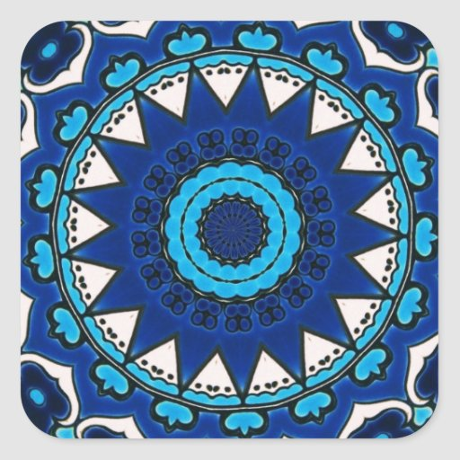 Vintage star motif  Ottoman Turkish tile design Square Stickers