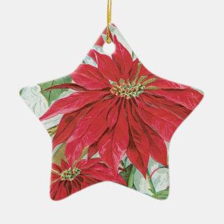 Vintage Star Poinsettia Christmas Ornament