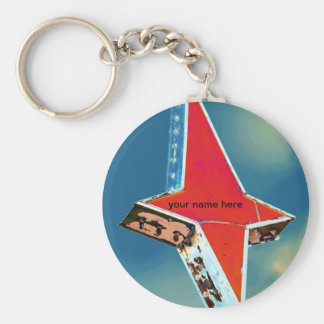 vintage star sign basic round button key ring