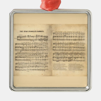 Vintage Star Spangled Banner Song Sheet Lyrics Christmas Ornament