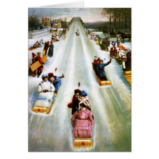 Vintage Star Tobogganing Day Card