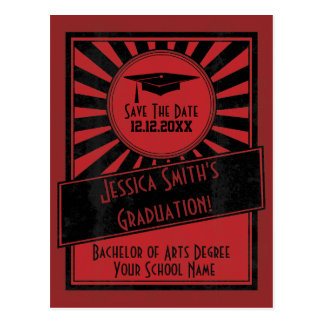 Vintage Starburst Save The Date Graduation Party Postcard