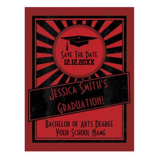 Vintage Starburst Save The Date Graduation Party Postcard