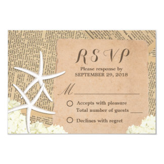 Vintage Starfish & Hydrangea Beach Wedding RSVP 9 Cm X 13 Cm Invitation Card