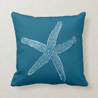 Vintage Starfish Illustration Teal Blue Cushion