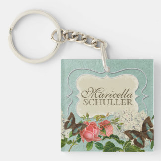 Vintage Stargazer Lily Rose Butterfly n Hydrangea Single-Sided Square Acrylic Key Ring