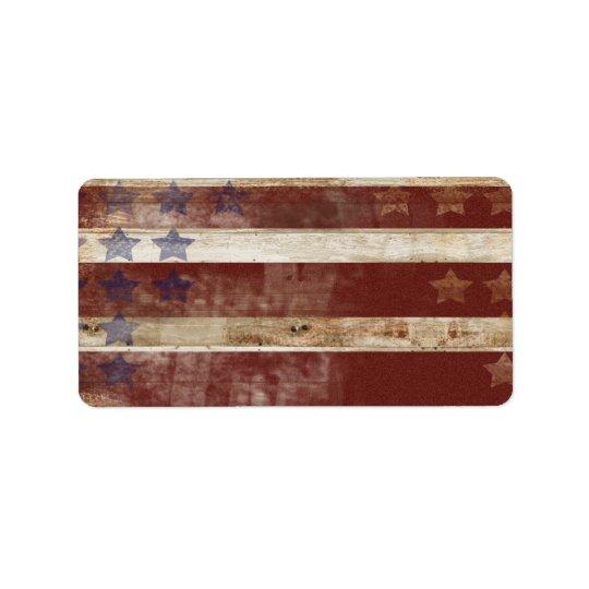 Vintage Stars And Stripes Pine Wood Pattern Address Label