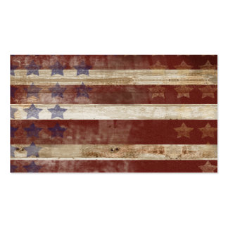 Vintage Stars And Stripes Pine Wood Pattern Business Card Template