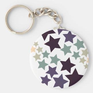 Vintage Stars Basic Round Button Key Ring