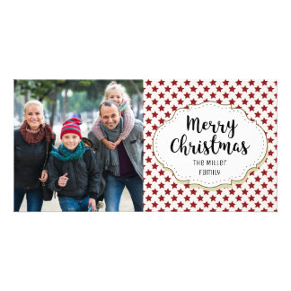 Vintage Stars Merry Christmas Picture Photo Card