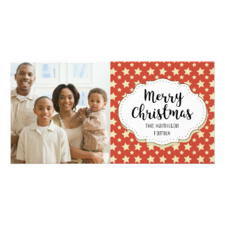 Vintage Stars Red Christmas Picture Photo Card