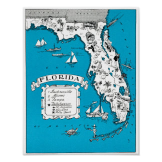 Vintage State of Florida Pictorial Map Posters