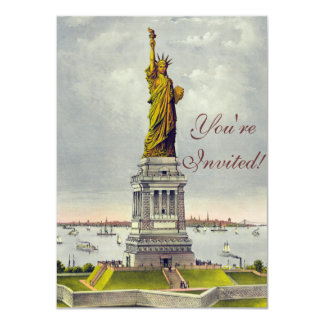 Vintage Statue of Liberty Currier and Ives 11 Cm X 16 Cm Invitation Card