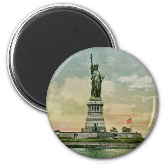 Vintage Statue of Liberty, New York Harbor 6 Cm Round Magnet