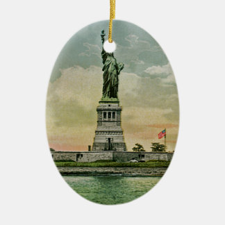Vintage Statue of Liberty, New York Harbor Ceramic Oval Decoration