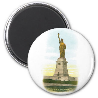 "Vintage ""Statue of Liberty"" Poster 6 Cm Round Magnet"