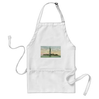Vintage Statue of Liberty Poster New York Aprons