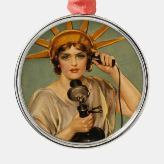 Vintage Statue of Liberty, WWI Patriotic War Ad Christmas Ornament