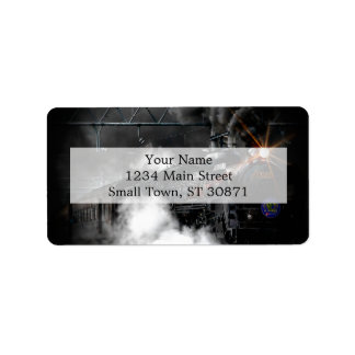 Vintage Steam Engine Black Locomotive Train Address Label