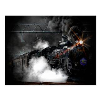 Vintage Steam Engine Black Locomotive Train Postcard