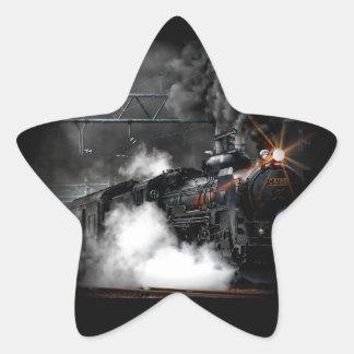 Vintage Steam Engine Black Locomotive Train Star Sticker
