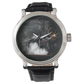 Vintage Steam Engine Black Locomotive Train Watch