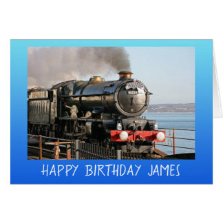 Vintage steam engine happy birthday personalised card