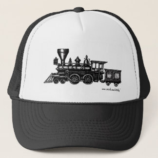 Vintage steam engine locomotive graphic art hat