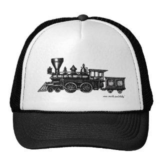 Vintage steam engine locomotive graphic art hat