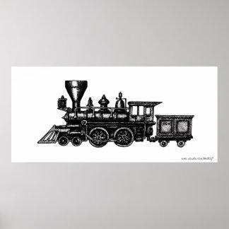 Vintage steam engine locomotive graphic poster