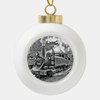 Vintage Steam Engine Train Ceramic Ball Christmas Ornament