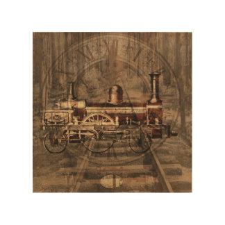Vintage Steam Engine Wood Art