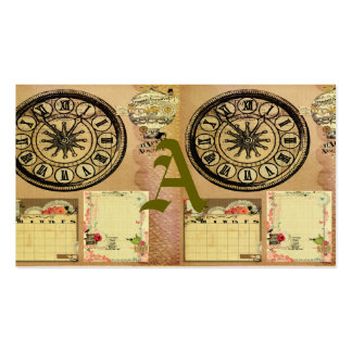 Vintage,steam punk,clocks,collage,victorian,girly, pack of standard business cards