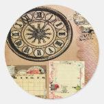 Vintage,steam punk,clocks,collage,victorian,girly, round sticker