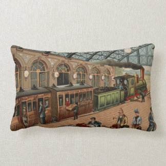 Vintage Steam train and station scene Lumbar Cushion