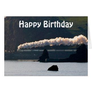 Vintage Steam Train Happy Birthday Greeting Card