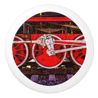 Vintage Steam Train Wheels Ceramic Knob