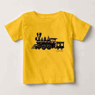 Vintage steame engine locomotive baby t-shirt