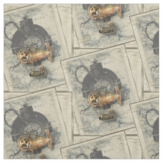 Vintage Steampunk Airship Compass And Antique Map Fabric